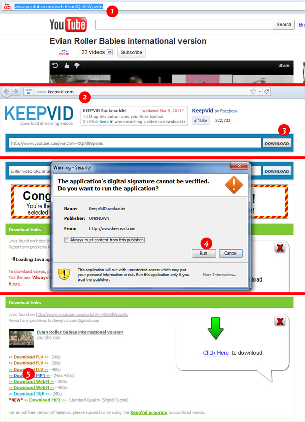 save videos using keepvid